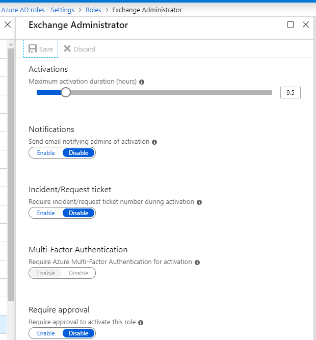 "Screenshot: PIM Role settings for ""Exchange Admin"" showing standard settings"