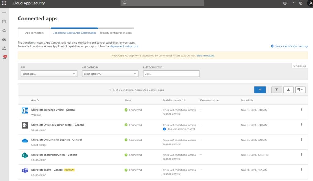 """Screenshot: Ansicht der """"Connected Apps->Conditional Access App Control apps"""", im Bild u.a. Exchange Online, SharePoint Online und Teams"""