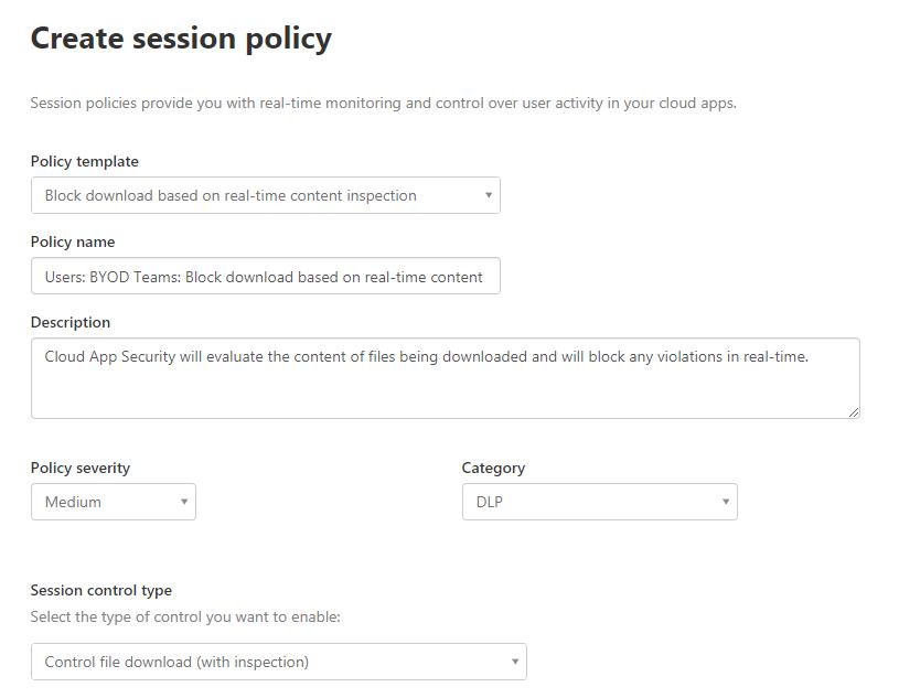 Screenshot: Session Policy nach dem Zuweisen des Templates und Eingabe eines eigenständigen Namens