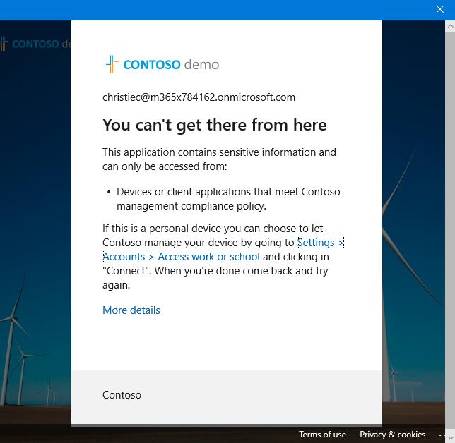 Screenshot: Fehlermeldung beim Versuch die native Teams App zu nutzen