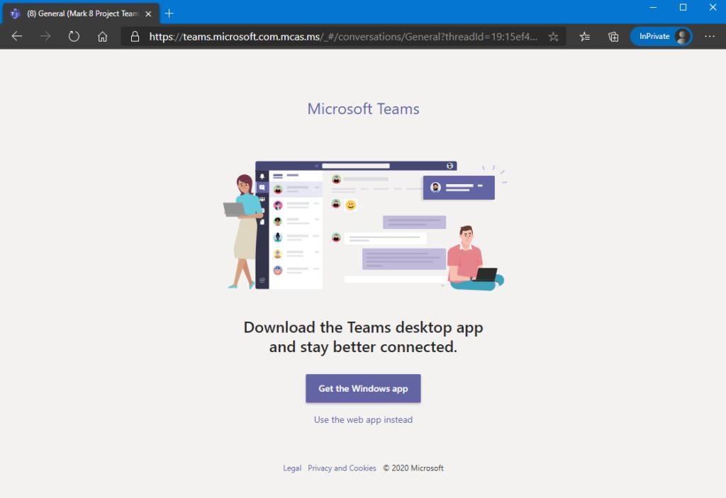 Screenshot: Klassischer Hinweis und Auswahl Teams in der App oder im Browser zu öffnen