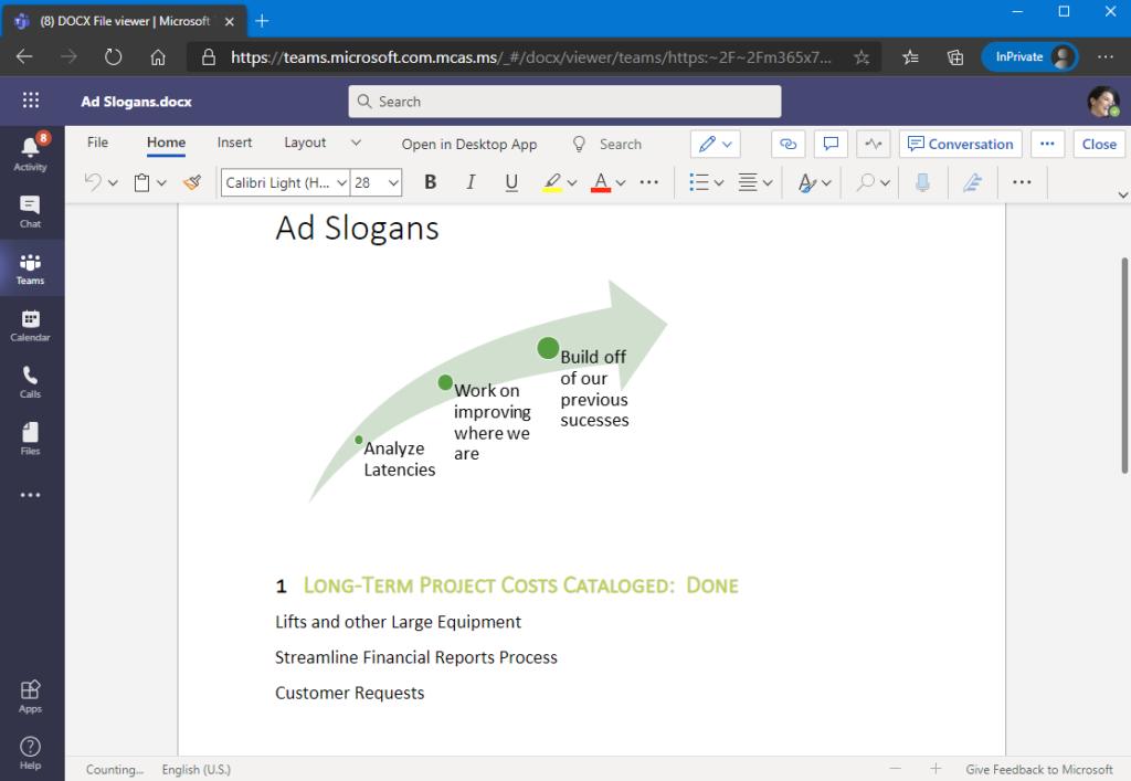 Screenshot: Dokument bearbeiten innerhalb von Teams