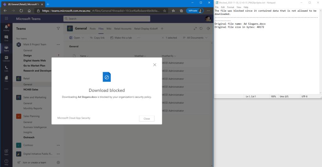 Screenshot: Hinweis auf geblockten Download