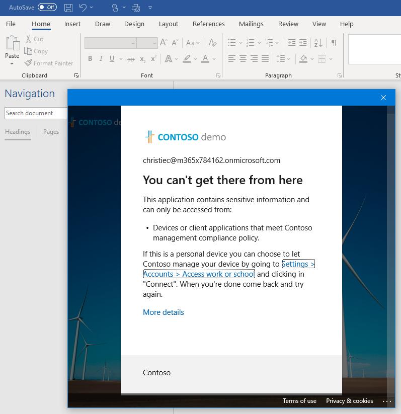 Screenshot: Hinweis auf geblockten Inhalt für non-managed Devices