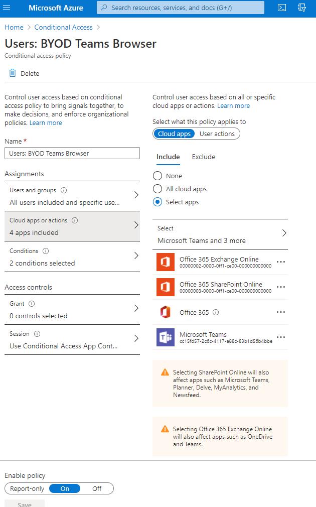 Screenshot: weiterer Verlauf der o.g. CA Policy - im Bild die Auswahl der betroffenen Apps: Exchange Online, SharePoint Online, Teams und Office 365