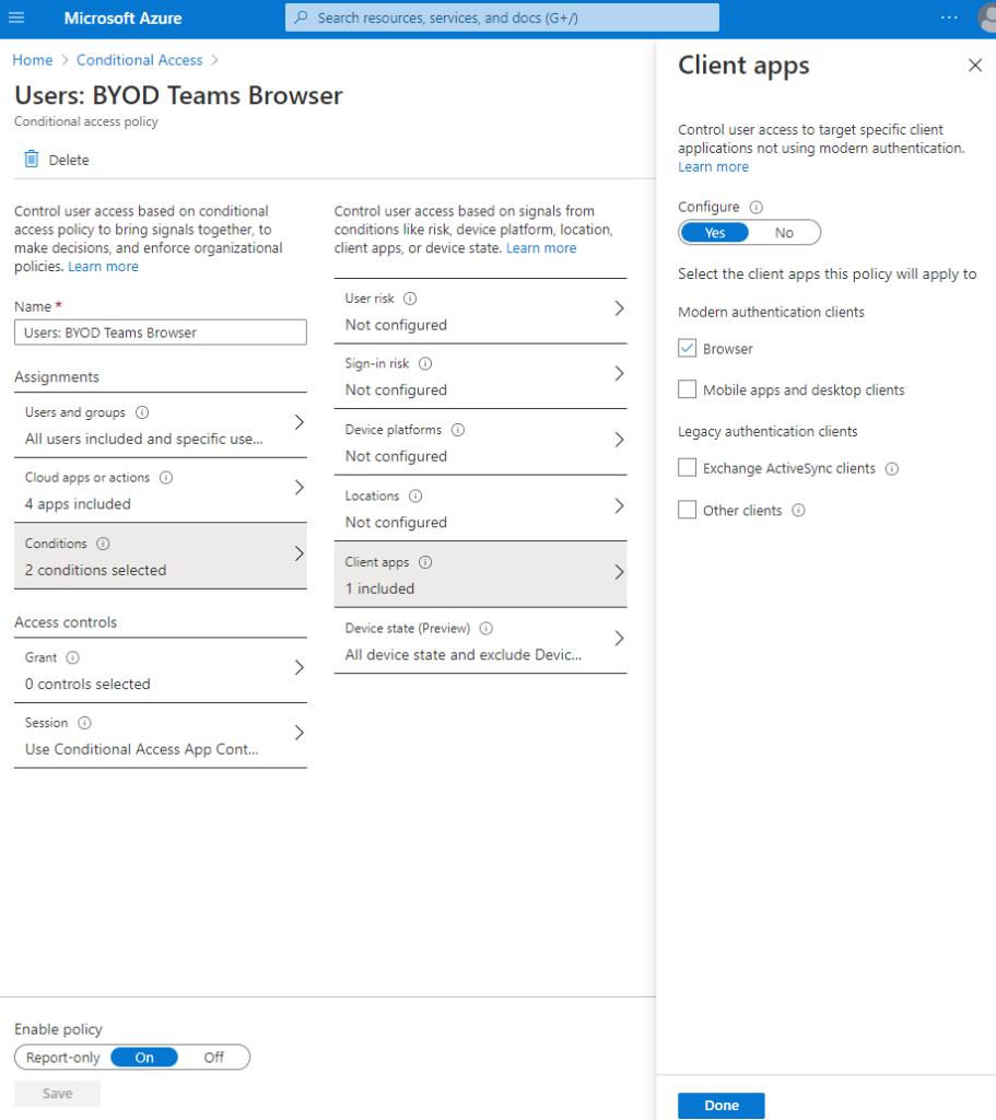 """Screenshot: nächstes Bild von der CA Policy im Bereich """"Conditions"""" die Auswahl """"Client apps"""" und dort lediglich ausgewählt """"Browser"""""""