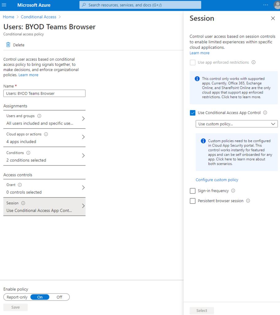 "Screenshot: Diesmal bei ""Access Controls"" unter ""Sessions"" die Aktivierung von ""Use Conditional Access App Control"" mittels des Werts ""Use custom policy"""