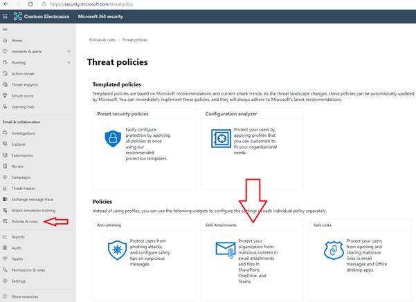 """User Interface der zu den """"Safe Attachment Policies"""" führt"""