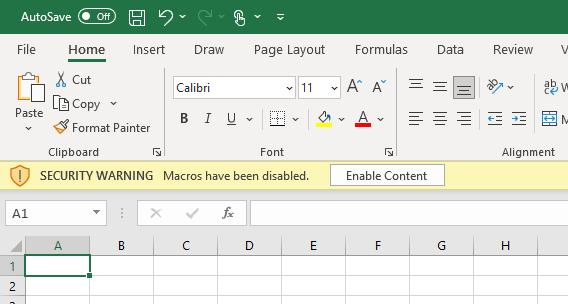 "Excel mit ""Macros have been disabled"" Hinweis"